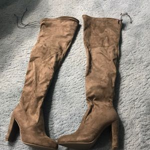 FLASH SALE- NWOT Suede Taupe Thigh High Boots